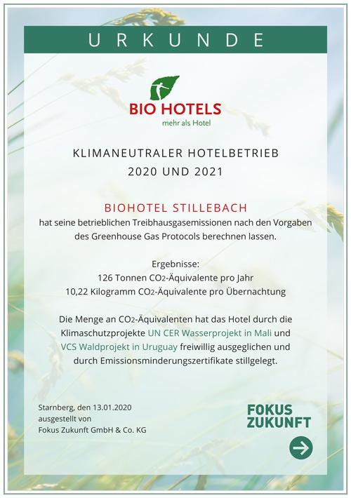 Urkunde Klimaneutrales Biohotel