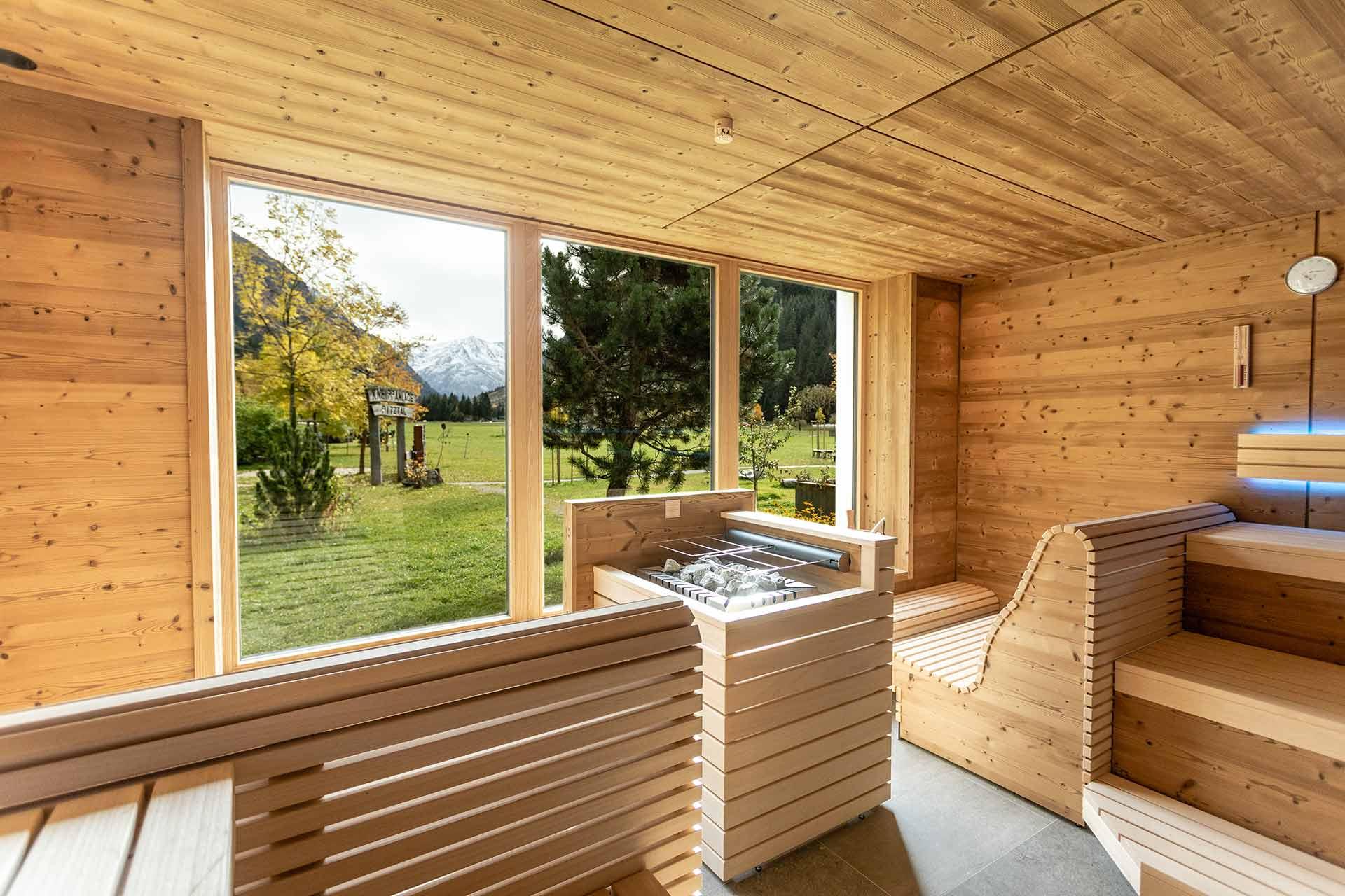 Panorama Sauna im Biohotel